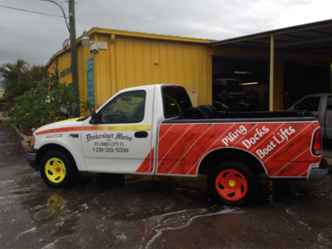 Beach Fender Mender can custom-paint your business' advertising on your vehicle. Looks better than a wrap and lasts longer!