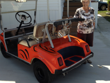 Represent your team with a customized golf cart.